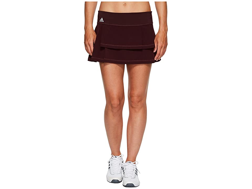 adidas Advantage Layered Skirt (Dark Burgundy/Clear Onix) Women