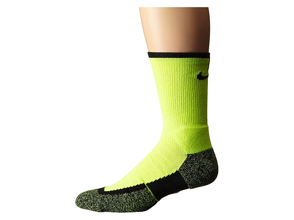 Nike Elite Tennis Crew (Volt/Black/Black) Crew Cut Socks Shoes