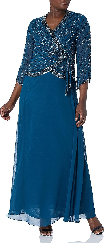 J Kara Women's Long Dress with 3/4 Sleeve