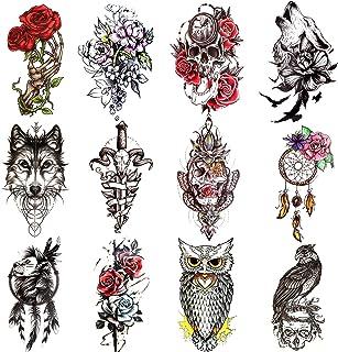 Konsait 12 Sheets Large Temporary Tattoos for Women Man, Half Arm Sleeves Tattoo Stickers, Flower wolf Skull Lion Owl Trib...