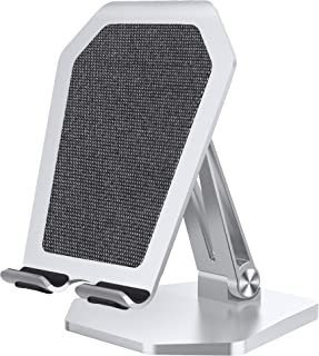 AOGUERBE Wireless Charger, Aluminum Alloy Fast Charging Stand Foldable Desktop Phone Holder 7.5W Compatible with iPhone 11/11 Pro/11 Pro Max/Xs Max,10W Galaxy Note 10/10 +/S10+(No AC Adapter)(Silver)