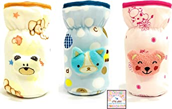 The Little Lookers™ Soft Plush Stretchable Baby Feeding Bottle Cover with Easy to Hold Strap | Suitable for 120ml | Cute Animated Overall Print Pack of 3 (Pink, Yellow, Blue)