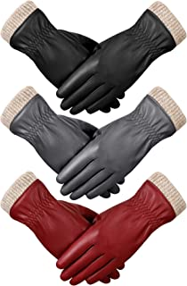 3 Pairs Winter Leather Gloves for Women Fleece Lined Warm Gloves Touchscreen Gloves