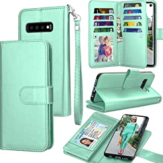 Tekcoo for Galaxy S10 Case, for Galaxy S10 Wallet Case/PU Leather, Luxury Cash Credit Card Slots Holder Carrying Folio Flip Cover [Detachable Magnetic Hard Case] Kickstand for Samsung S10 -Turquoise