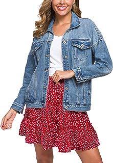 Cantonwalker Loose Women's Denim Jean Jacket,Oversize Vintage Denim Jacket,Long Sleeve Boyfriend Denim Jacket Coat