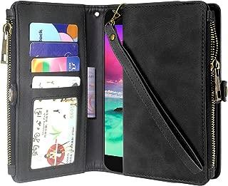 LG K20 V Case, LG K20 Plus Case, LG Harmony Case, Linkertech Premium Leather Flip Zipper Wallet Case Cover with Card Holder & Wrist Strap for LG Grace/LG K10 2017/LG V5 (Black)