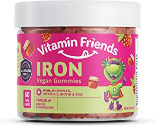 Vitamin Friends Strawberry Jam Flavored Iron Gummies - Vegan (60 Day Supply) - Vegan (60 Day Supply) Ferrous Fumarate B-Co...