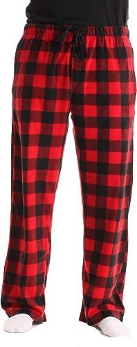 Fruit of the Loom Mens Fleece Pajama Sleep Pants Red Black Plaid Sz Large 36-38