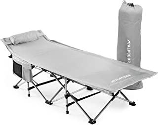 Alpcour Extra Large Camping Cot Heavy Duty Compact XL Bed in a Bag with Pillow for Adults & Kids – Portable Folding Steel ...