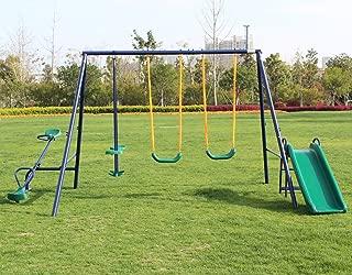 KLB Sport Metal Swing Set w/ Slide (Blue)