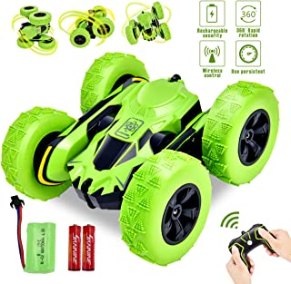 Yuboa Stunt RC Car 4WD Remote Control Car,2.4GHz Double Sided Rotating 360 Degree Flip Stunt Car Off Road Racing Car Electric Rechargeable Stunt Vehicle Toy for Kids Boys Green
