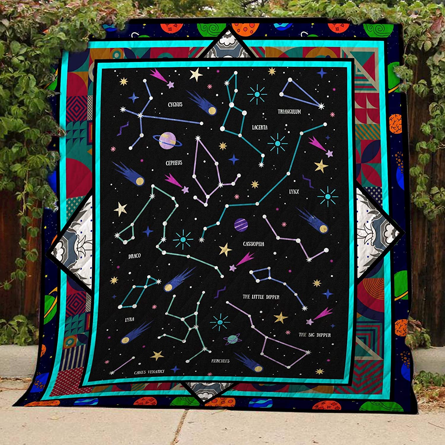 Constellation Quilt TH400, Queen All-Season Quilts Comforters with Reversible Cotton King Queen Twin Size - Best Decorative Quilts-Unique Quilted for Gifts