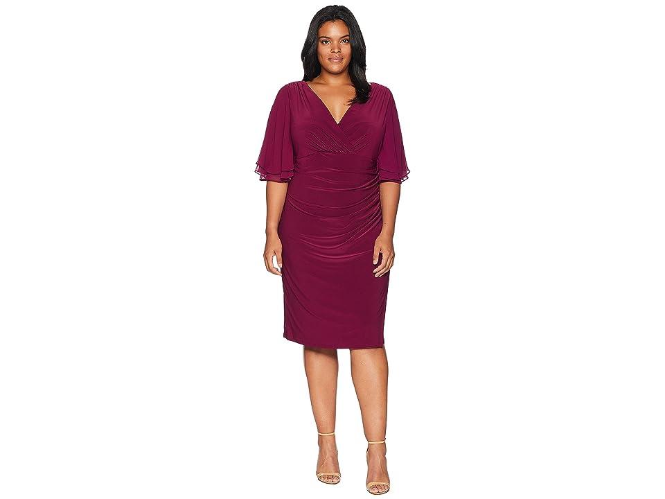 LAUREN Ralph Lauren Plus Size Mildia Elbow Sleeve Day Dress (Exotic Ruby) Women
