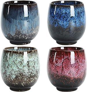 Tasse à thé japonaise, ensemble de tasses à thé en céramique, ensemble de 4 tasses à la main, multicolores, tasses en céra...