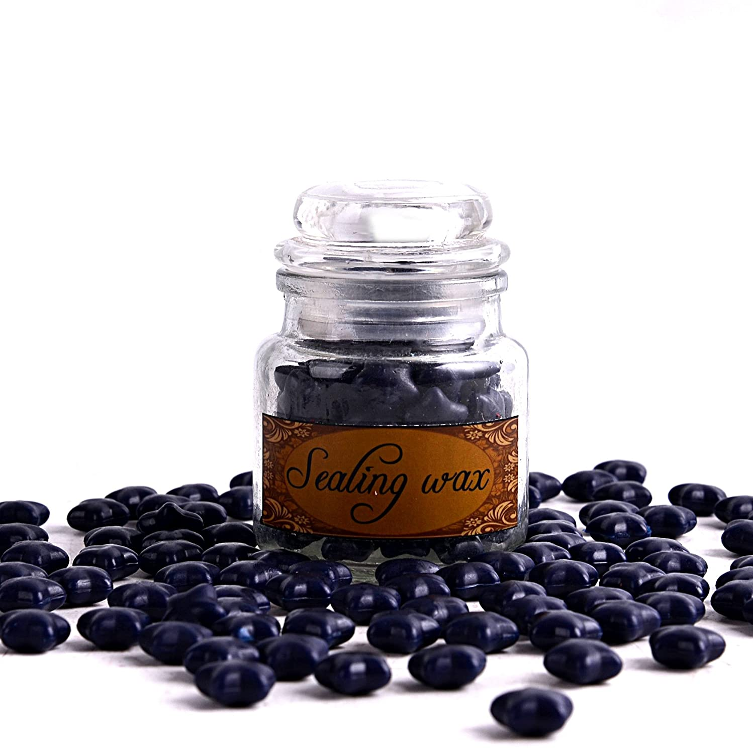 A Bottle of Star Sealing Wax Beads for Wax Stamp Seals, 100pcs, Navy Blue