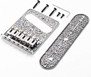WANBY Professional 6 String Saddle Bridge Plate Beautiful Decorative Pattern for Tele Electric Guitar (Sliver)