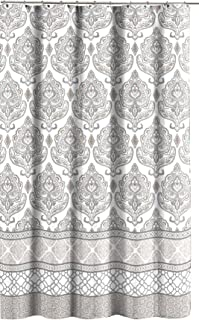 Grey Taupe White Canvas Fabric Shower Curtain Floral Damask With Geometric Border Design