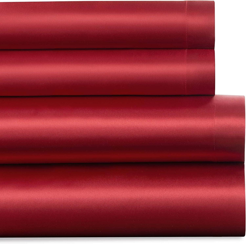 Baltic Linen Satin Luxury Sheet Charlotte Mall King Red Nashville-Davidson Mall Set 4-Piece