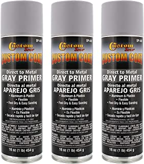 Custom Coat 1K High Build Primer - Grey - for Automotive and Industrial Use - Easy Sanding and Direct to Metal (Pack of 3)