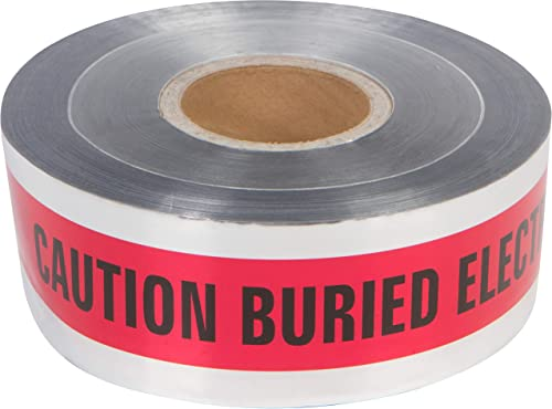"""discount Morris Products Underground Electrical Foil outlet online sale Lined Caution Tape – 3"""" new arrival Width – Detectable from 12-24"""" Depths – Red – Printed with Caution Buried Electric Line Below Pack of 3 online"""