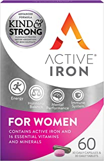 Active Iron & B-Complex Plus For Women 30 Iron Tablets & 30 Vitamin B Tablets   Iron Supplement With Vitamin B Complex For...