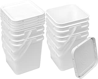 Square Bucket Kit, Four 4-Gallon Buckets and Four White Snap-on Lids with Gaskets