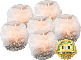 mockins 2.5 lbs 6 pack Natural White Himalayan Salt Tea Light Candles Holder   Great Room Decor