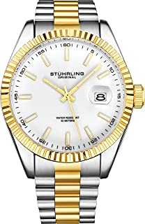 Sturhrling Men's White Dial Stainless Steel Band Watch - 599G.04