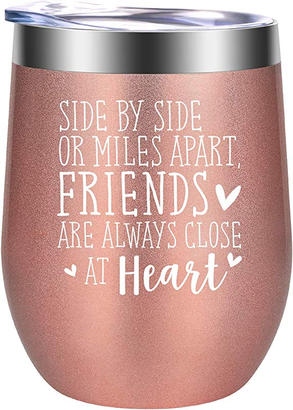 Side By Side Or Miles Apart Friends Best Friend Gifts Funny Long Distance Friendship Going Away Birthday Wine Gifts For Women Best Friends Coworker Unique BFF Bestie Gift GSPY Wine Tumbler