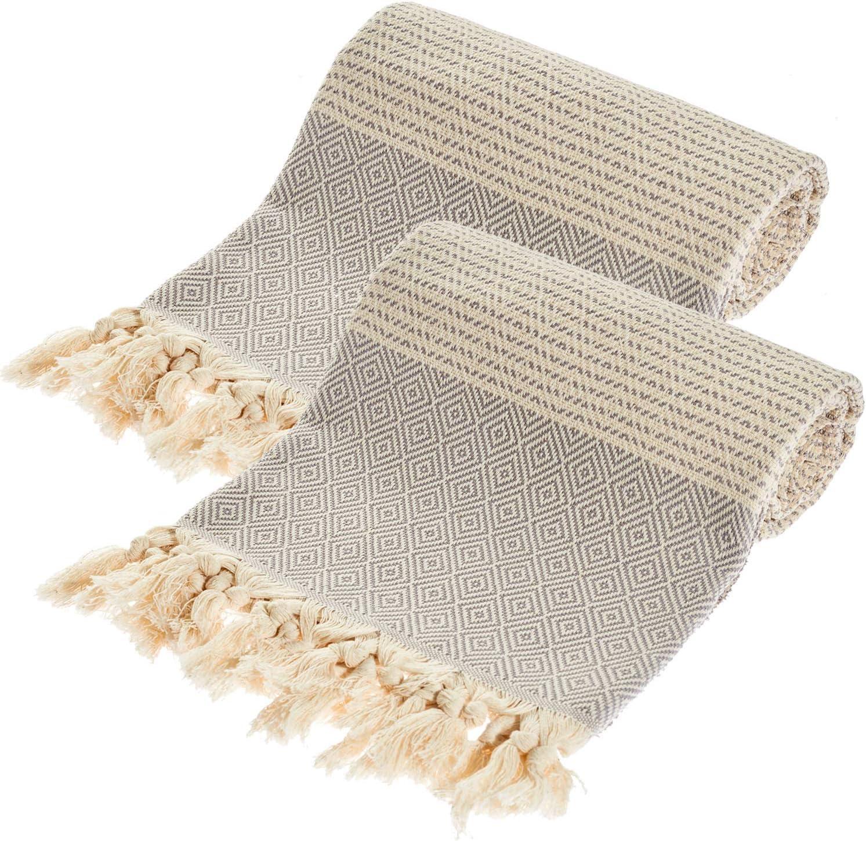 QoupQuru Turkish Towels – 2 Pack Peshtemal Towel Set – 100% Turkish Cotton