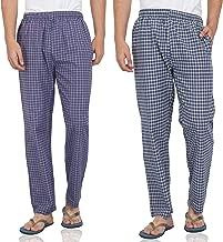 Fflirtygo Mens Pyjama Cotton Combo, 100% Cotton Export Quality Fabric, (Pack of 2) Sleep Pants, Pyjama for Men, Night Wear Pajama - Blue Color Combo Pack