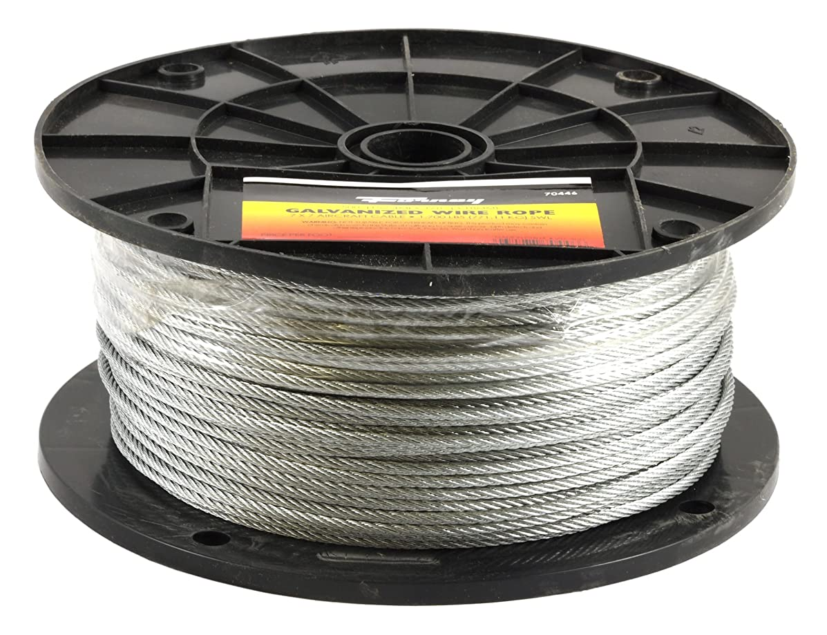 Forney 70446 Wire Rope, Galvanized Aircraft Cable, 500-Feet-by-1/8-Inch