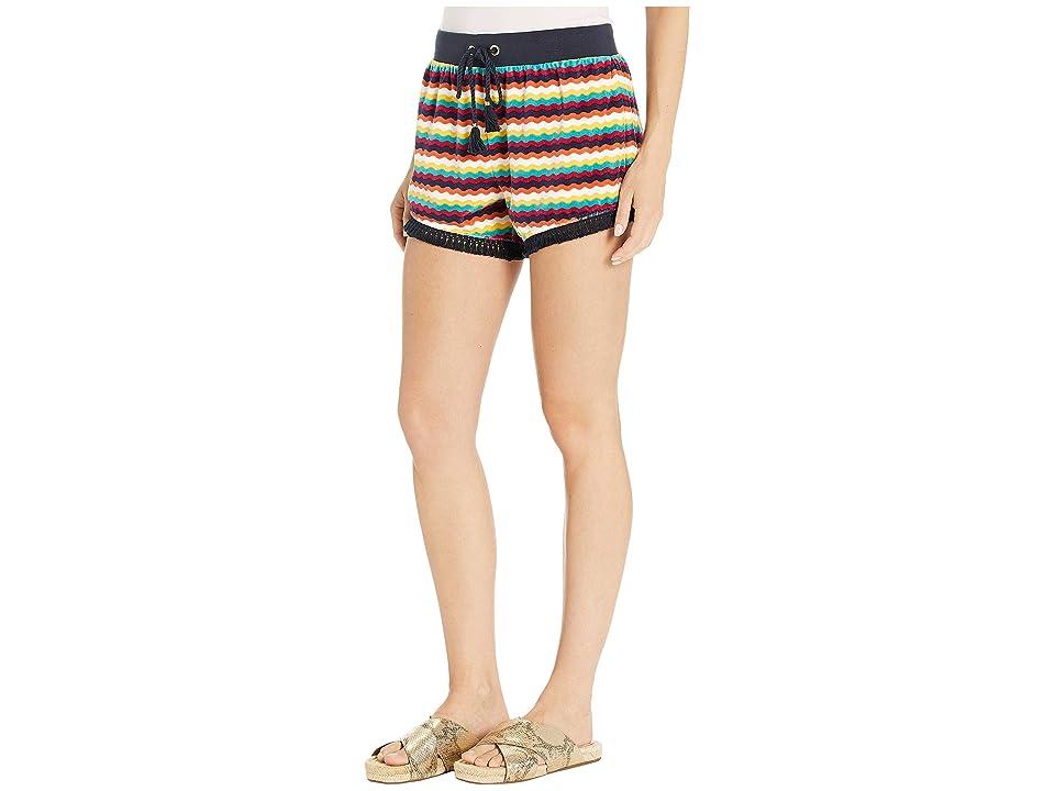 Juicy Couture Ric Rac Stripe Velour Track Shorts (Multi Ric Rac Stripe) Women's Shorts, Blue