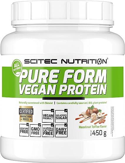Scitec Nutrition Pure Form Vegan Protein, Caramel-Noisette, Toffee de Avellana, 0.6, 450 Gramos