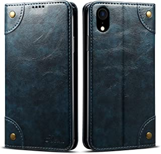 Case Compatible with iPhone XR Apple Wallet,Blue Leather Cover Retro Texture Folio Card Holder Kickstand Protective Durable Shell for Men Boy Women Girl