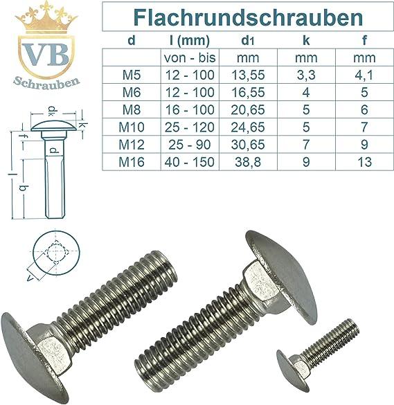 Vb Schrauben 1 Stück Schlossschraube M5 X 12 12 Din 603 Flachrund Schraube Flachrundschrauben Iso 8677 Edelstahl A2 V2a Rostfrei Baumarkt