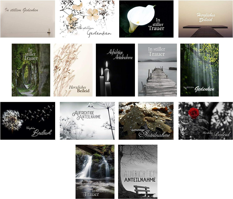 15 hochwertige Trauerkarten mit Umschlag ein Beileidskarten Set von Davom