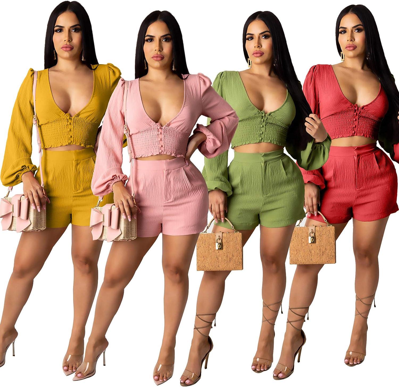 THLAI Summer Women 2 Piece Outfits V Neck Puff Long Sleeve Crop Tops Zipper Up Shorts Sets Suits