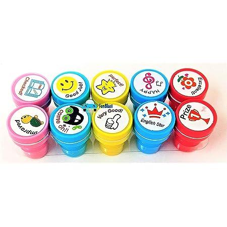 FunBlast 10 Pcs Motivation Stamper for Kids - Plastic Stamper Toys Art & Craft for School Supplies Toys for Kids/Boys/Girls- Multicolor