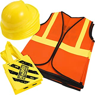 24 Pieces Construction Dress up Supplies Construction Costume Including Tote Bag Vest and Construction Hat Birthday Party ...