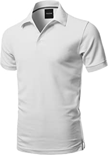 Youstar Men's Solid Short Sleeves Basic Premium Quality Side Slit Polo Shirt