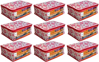 Kuber Industries Non Woven Saree Cover Pink Floral Design Set Of 9 Pcs (Regular Size)