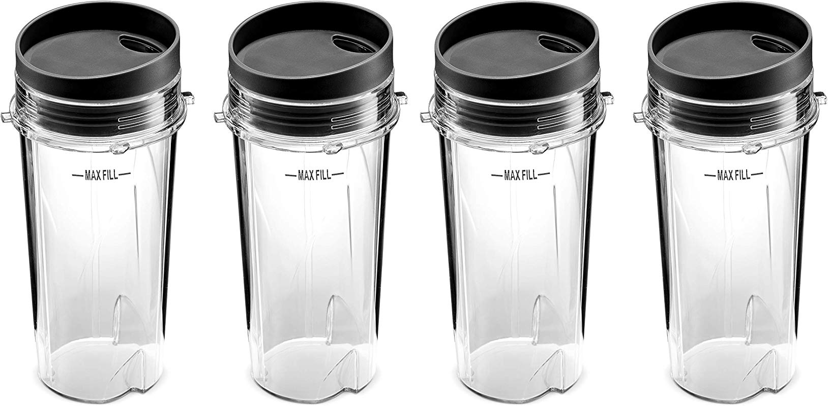 Ninja Single Serve 16 Ounce Cups Set By Preferred Parts Comparable With Nutri Ninja BL770 BL780 BL660 Professional Blender Pack Of 4