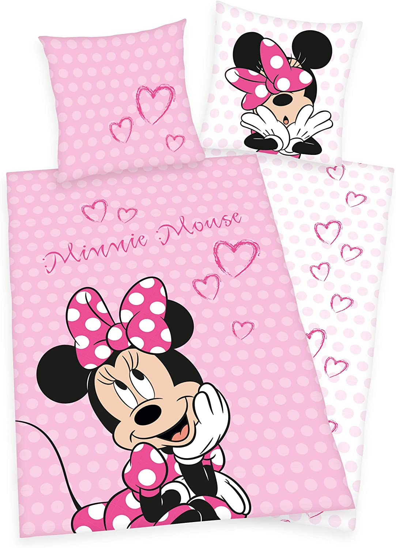 Decke 130x160cm Cotone Rosa Disney Minnie Mouse Biancheria da letto I cuscino I coperta in pile