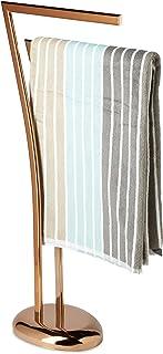 Relaxdays Porte-serviettes sur pied en cuivre WIMEDO HxlxP: 84 x 26 x 16 cm support pour serviettes 2 barres, cuivre