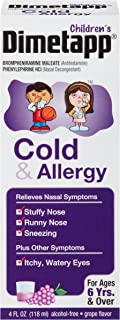 Dimetapp Children's Cold & Allergy Antihistamine & Decongestant (Grape Flavor, 4 fl. oz. Bottle, Pack of 6)