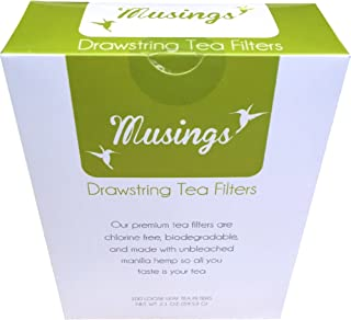 Premium Drawstring Loose Leaf Tea Bags, Disposable Filters, Non GMO, Strong, No Mess Tag, All Natural Infuser, Compostable, Unbleached Manilla Hemp Paper