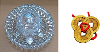 finaldeals Combo Feng Shui Tortoise Crystal Turtle with Beautiful Plate for Good Luck with Feng Shui Lucky Coins