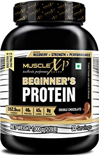 MuscleXP Beginner's Protein With Digestive Enzymes (With Whey Protein), Double Chocolate 1Kg (2.2lb)