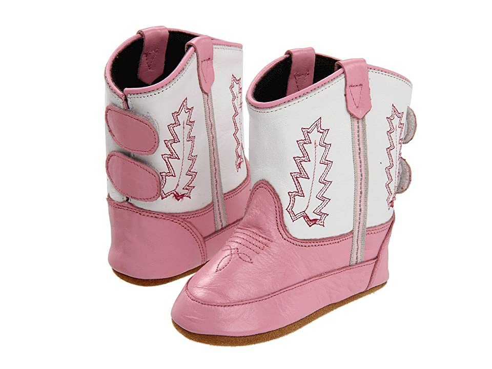 Old West Kids Boots Poppets (Infant/Toddler) (Pink/White) Cowboy Boots